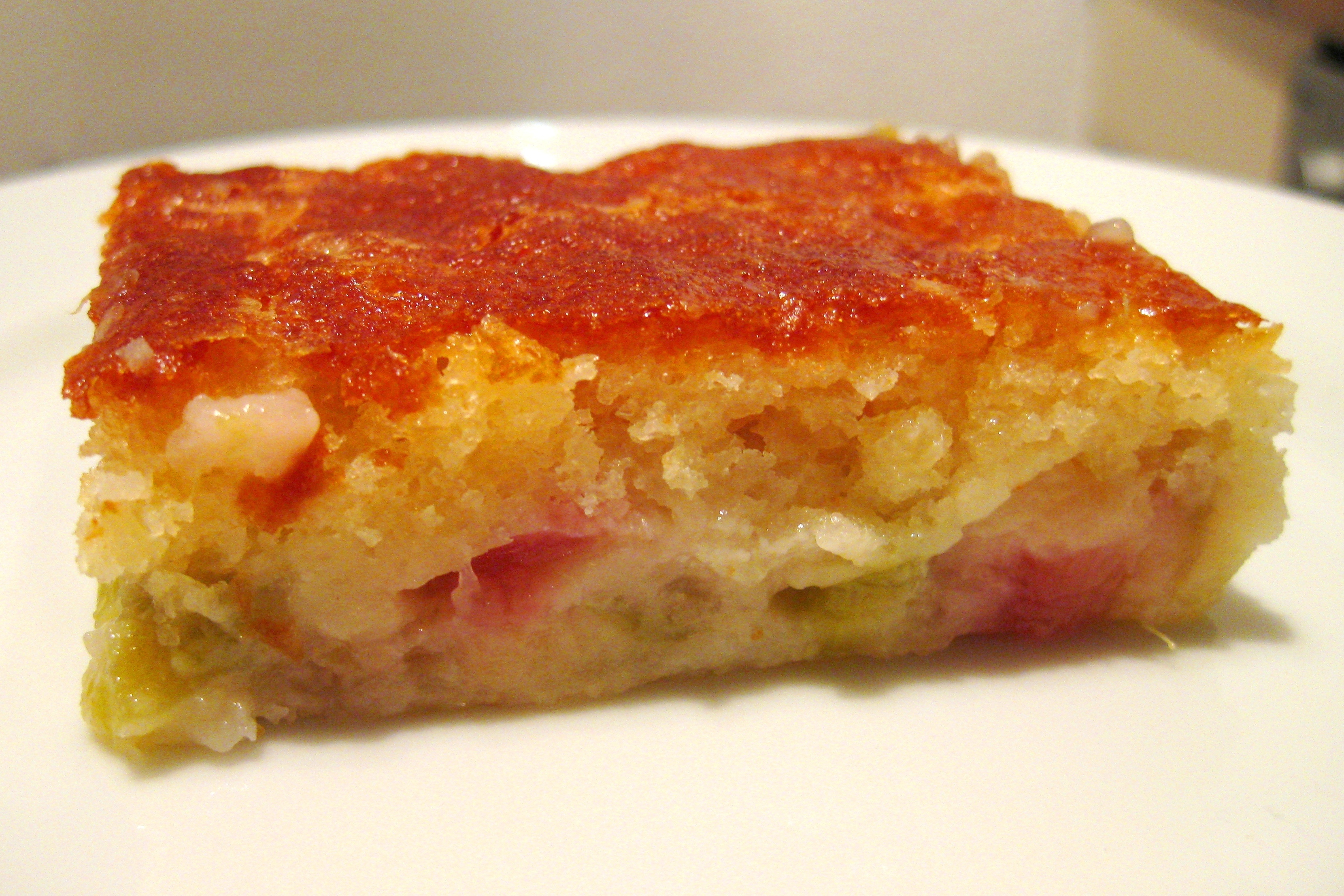 rhubarb custard cake easy rhubarb custard cake culinspiration follow your tongue 7089